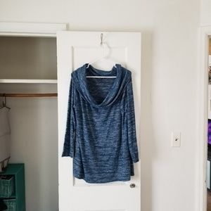 a.n.a size xxl blue and gray cowl neck sweater.